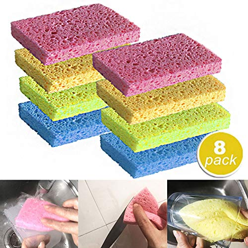 Cleaning Scrub Sponge Cellulose Sponge Non-Scratch Natural NO Odor for Household Kitchen Dish Car Glass Windows Shoes Furniture Bathtub Bathroom Clean Dust Oil Dirt, Assorted Colors,8 Pack