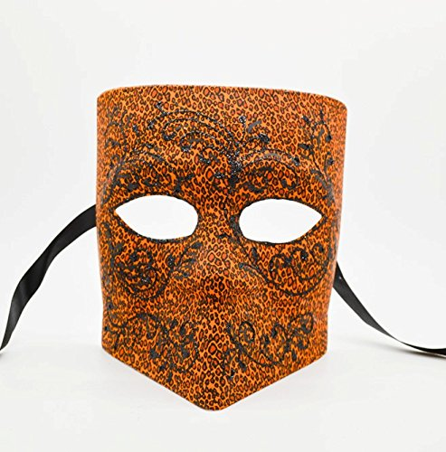 Men's Orange Leopard Bauta Mask Roman Greek Venetian Spartan Masquerade Mask Cos Play Mask]()