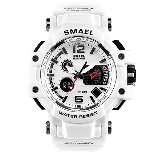 White Sports Watch (SMAEL Men's Sport Analog Digital Watch Water Resistant Military Time with Backlight Watches for Men)