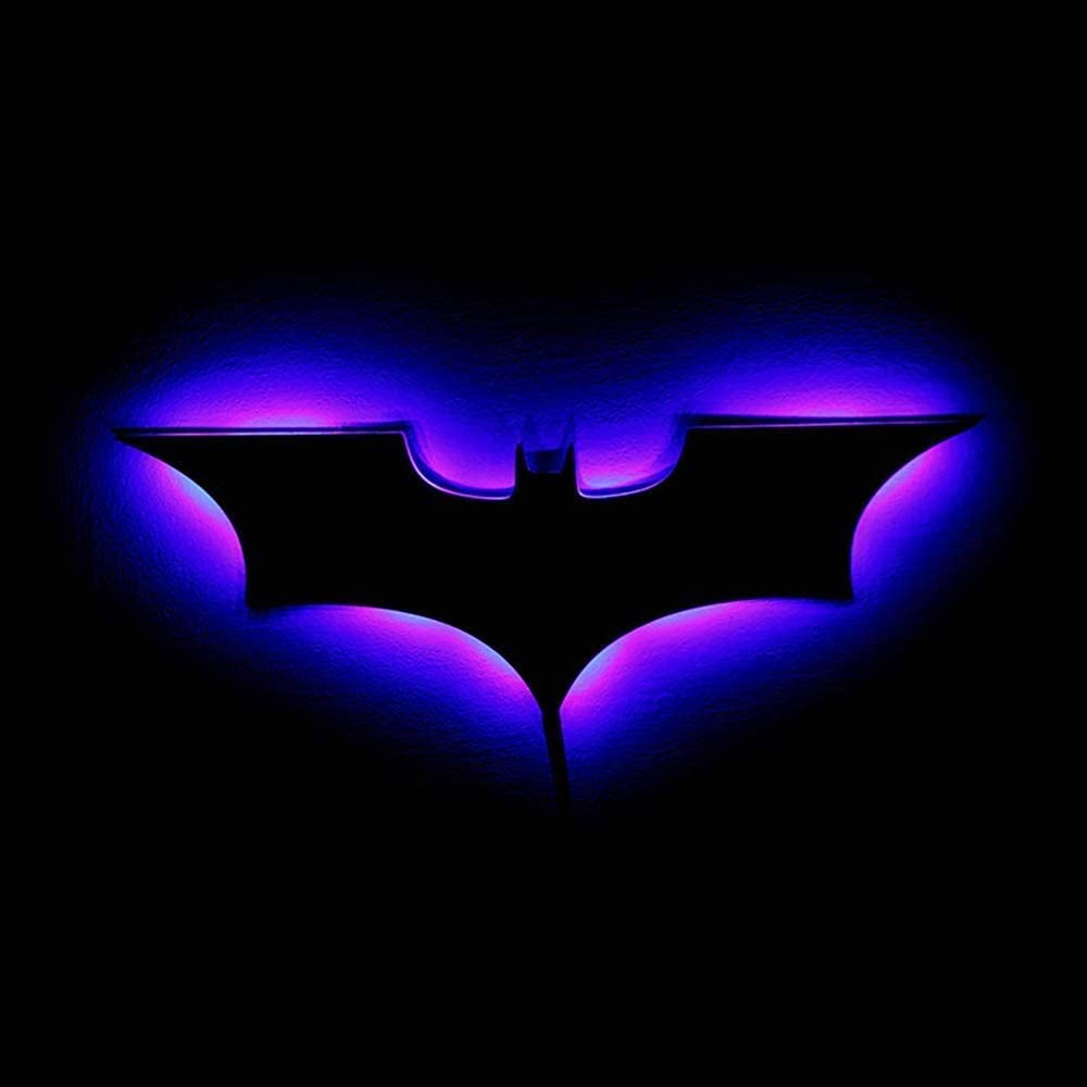 Puzzlos LED Wall Light with Remote Control Batman Colorful Projection Night Light for Bedroom KTV Corridor Background Wall Decoration Lighting Battery