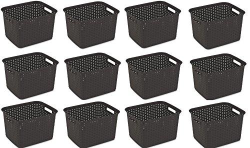 Sterilite 12736P06 Tall Weave Basket, Espresso, 6-Pack (Basket 12-Pack) by STERILITE