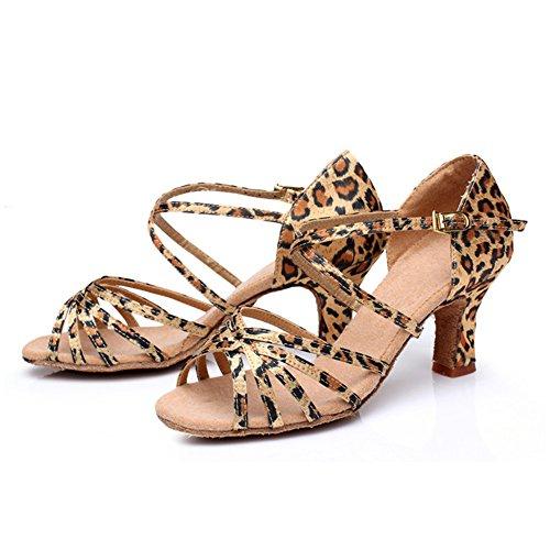 Sala Ballo da alla cinturino 5CM con caviglia da Leopardo Tacco Fibbia Donna LSERVER Ballo Scarpe Latino Tacco per Standard E4ZwFOqn