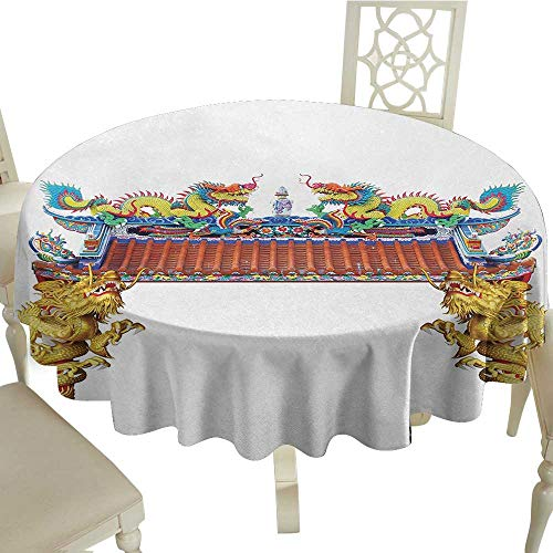 Curioly Dragon Printed Tablecloth Chinese Style Dragon Archway Statue Over Pillars in Asian Temple Mythology Art Desktop Protection pad D35.4 Inch Yellow Red Blue