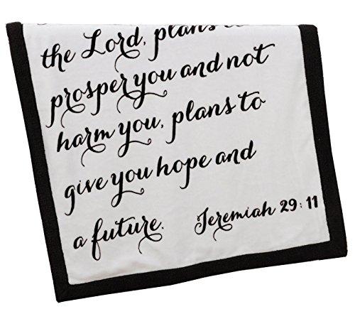 Religious Scripture Throw Blanket for Baby or Children   Jeremiah 29:11   Best Boy or Girl Shower or Birthday Gift   Ivory Fleece on Dark Brown Sherpa