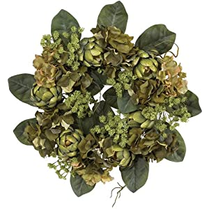 Nearly Natural 4628 Artichoke Wreath, 18-Inch, Green 29