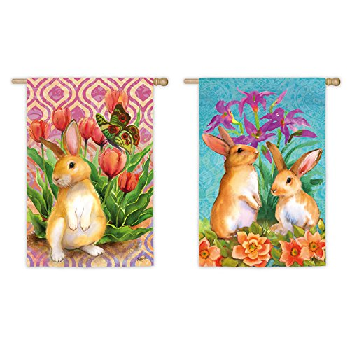 Evergreen Bunny Patch Suede House Flag, 29 x 43 inches