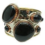 Satin Crystals Onyx Black Bracelet 5.5-7'' Boutique Genuine Gemstone Goddess Cuff Copper Brass Silver Metal Statement B01