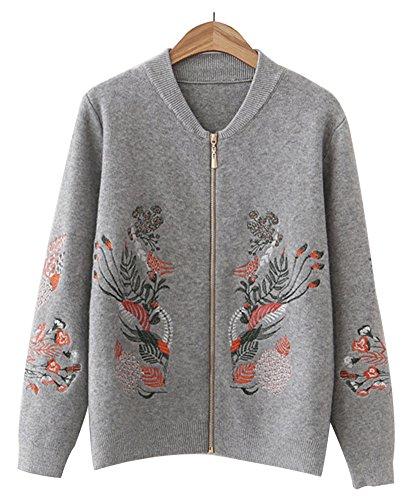 Orolay レディース ニットコート カーディガン セーター 森ガール アウター かわいい きれいめ 刺繍 ケーブル編み