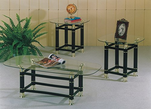 Maison Furniture 3 PC glass top with metal legs coffee table set (Black)
