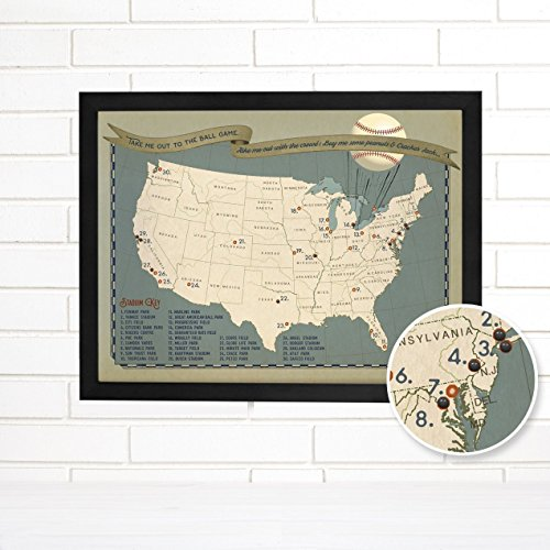 Baseball Adventures Push Pin USA Travel Map Art by ImagineNations by Wendy Gold