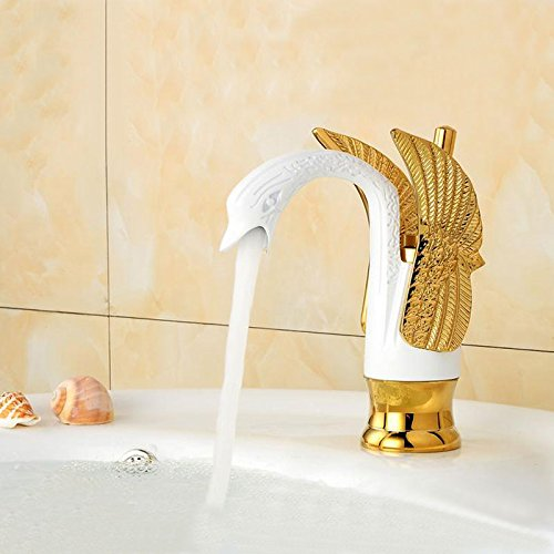 AWXJX European Style Retro Style Copper Gold Hot and Cold Bath Wash Your Face Mixer Tap