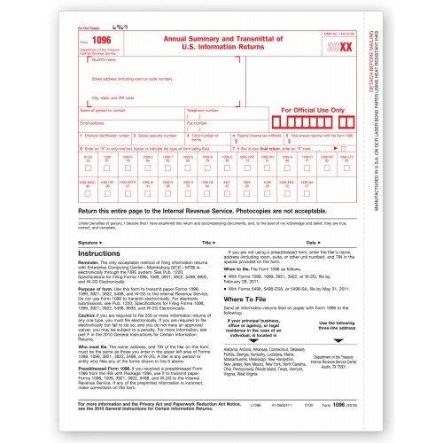 Laser IRS Tax Form 1096