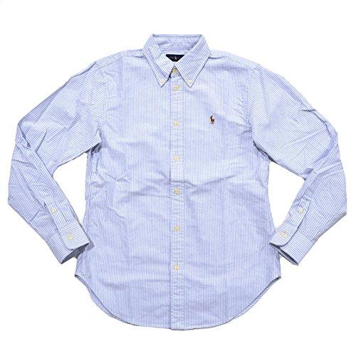 (Ralph Lauren Women Classic Fit Striped Oxford Shirt (Small, Powder Blue/White))