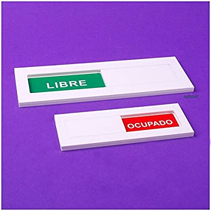 Faberplast FB619 - Cartel libre ocupado español, color blanco