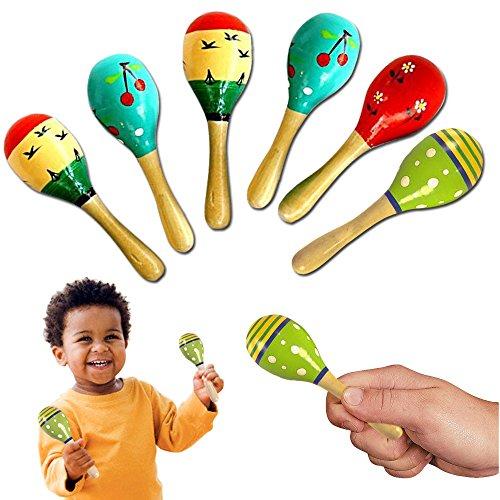 Small Maracas (Toy Cubby Wooden Mini Fiesta Painted Maracas - 6 pcs)
