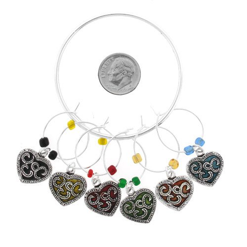 Wine Glass Markers Wine Charms ~ Textured Hearts Wine Glass Charms Set of 6 (Wine Charm 036c) (Charms Heart Glass)