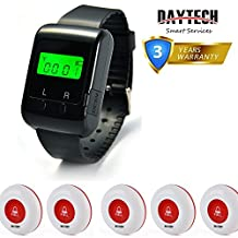 Wireless Pagers Calling System Table Service Call Buzzers Beepers Caregiver Alert for Restaurant Hotel Nursing Home 1 pc Wrist Watch Receiver + 5 pcs Waterproof Call Buttons
