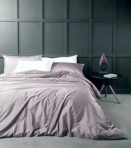 Solid Color Egyptian Cotton Duvet Cover Luxury Bedding Set High Thread Count Long Staple Sateen Weave Silky Soft Breathable Pima Quality Bed Linen (King, Mauve)