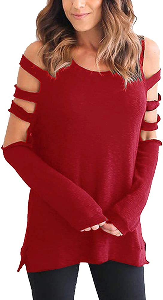iMixCity Mujer Camiseta Elegante Casual Hombros Descubiertos Blusa Mangas Largas Cuello Redondo Top