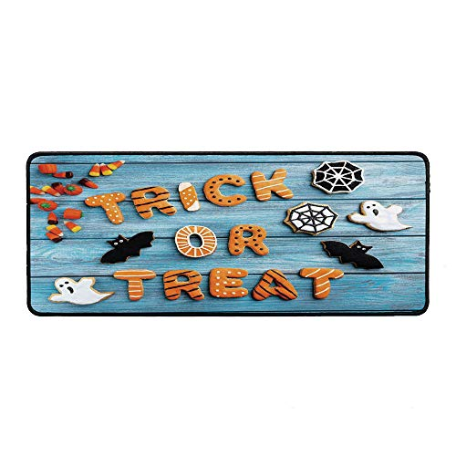 Vintage Halloween Wristband Mouse Pad,Trick or Treat Cookie Wooden Table Ghost Bat Web Halloween for Home Desk Computer Desk,15.75''Wx35.43''Lx0.12''H