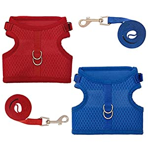 2 Pack Escape Proof Cat Harness with Leash Set - Breathable Mesh and Adjustable Walking Jacket - Blue and Red