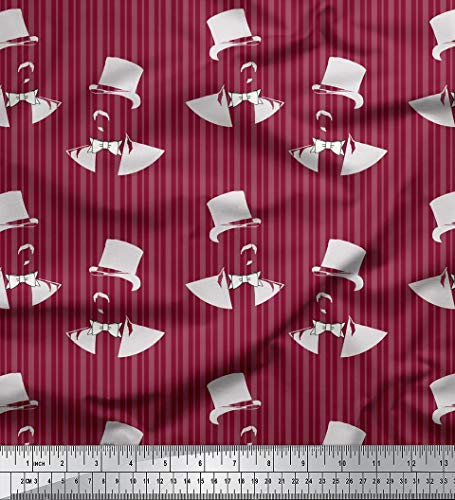 Soimoi Red Cotton Jersey Fabric Magician Face & Stripe Print Fabric by The Yard 58 Inch Wide