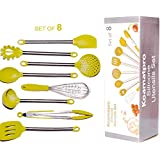 Kitchen Silicone Utensil set -8 Piece Silicone & Stainless Steel Cookware cooking Baking   Heat Resistant Non Stick Scratch Resistant  Pasta Server, Spatula and More by Koamatpro