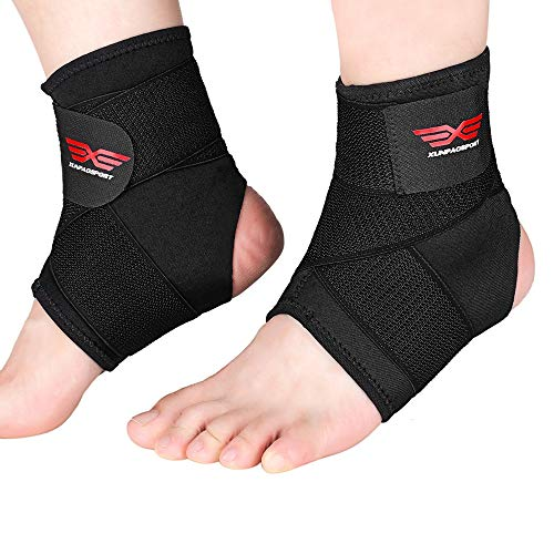 Ankle Brace,2 Pieces Breathable & Strong Ankle Support for Sprained Ankle, Injury Recovery, Ankle Compression Sleeve with Adjustable Wrap Best for Reducing Swelling & Heel Spur Pain-X/XL