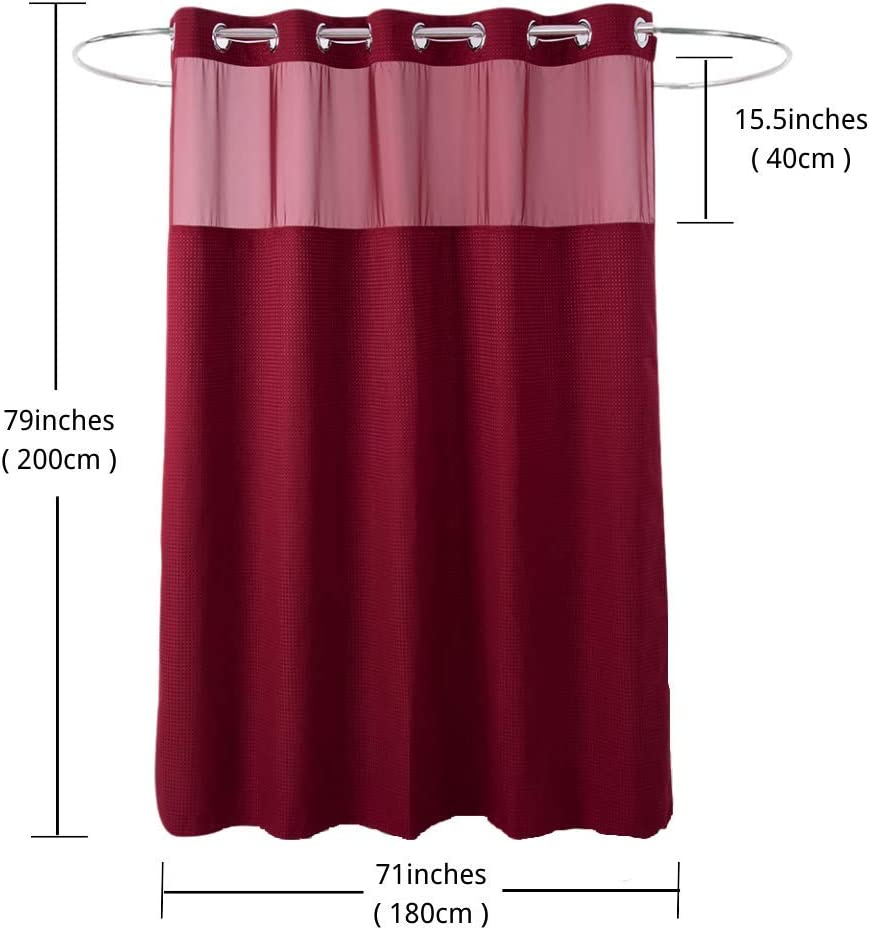 HappyBath Extra Long Hookless Fabric Shower Curtains Burgundy with Removable Polyeser Material Liner 100/% Waterproof Red 71x79