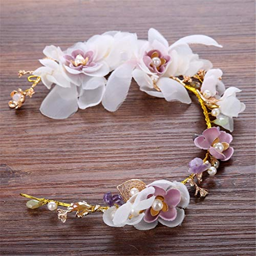 MATCHANT Bridal Handmade Flower Headdress Beaded Pink Crepe Wedding Dress Accessories Hair Band Bridal Jewelry (Color : Purple)