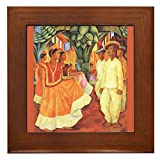 CafePress - Diego Rivera Tehuantepec Dance Art Framed Tile - Framed Tile, Decorative Tile Wall Hanging
