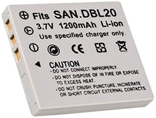 Digital Replacement Camera and Camcorder Battery for Sanyo DB-L20, XACTI DMX-C1 - Includes Lens Pouch (Lens Sanyo Plastic)