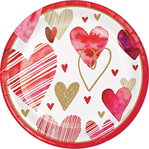 Watercolor Hearts Paper Plates, 24 ct ()