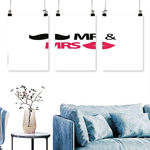 SCOCICI1588 3-Piece Home Decoration Funny Stencil Art Lips Moustache Mr and Mrs Retro Stylized Design Black Pink to Hang for Living Room No Frame 30 INCH X 60 INCH X -