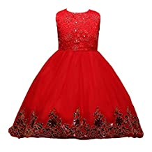 Flower Girls Tulle Princess Bridesmaid Wedding Pageant Dress with Trailing Skirt