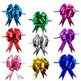 CSPRING 18PCS Bright Colored 5 Inch Wide Pull Bows with Ribbon String for Easter Christmas Gift and Wedding Car Decoration by