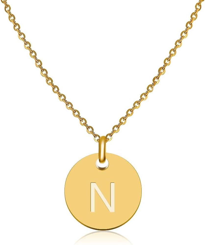 Good.Designs ® Collar Inicial para Mujeres (Colgante Inicial) Cadena de Mujer en Oro (Colgante de Letras Redondas)