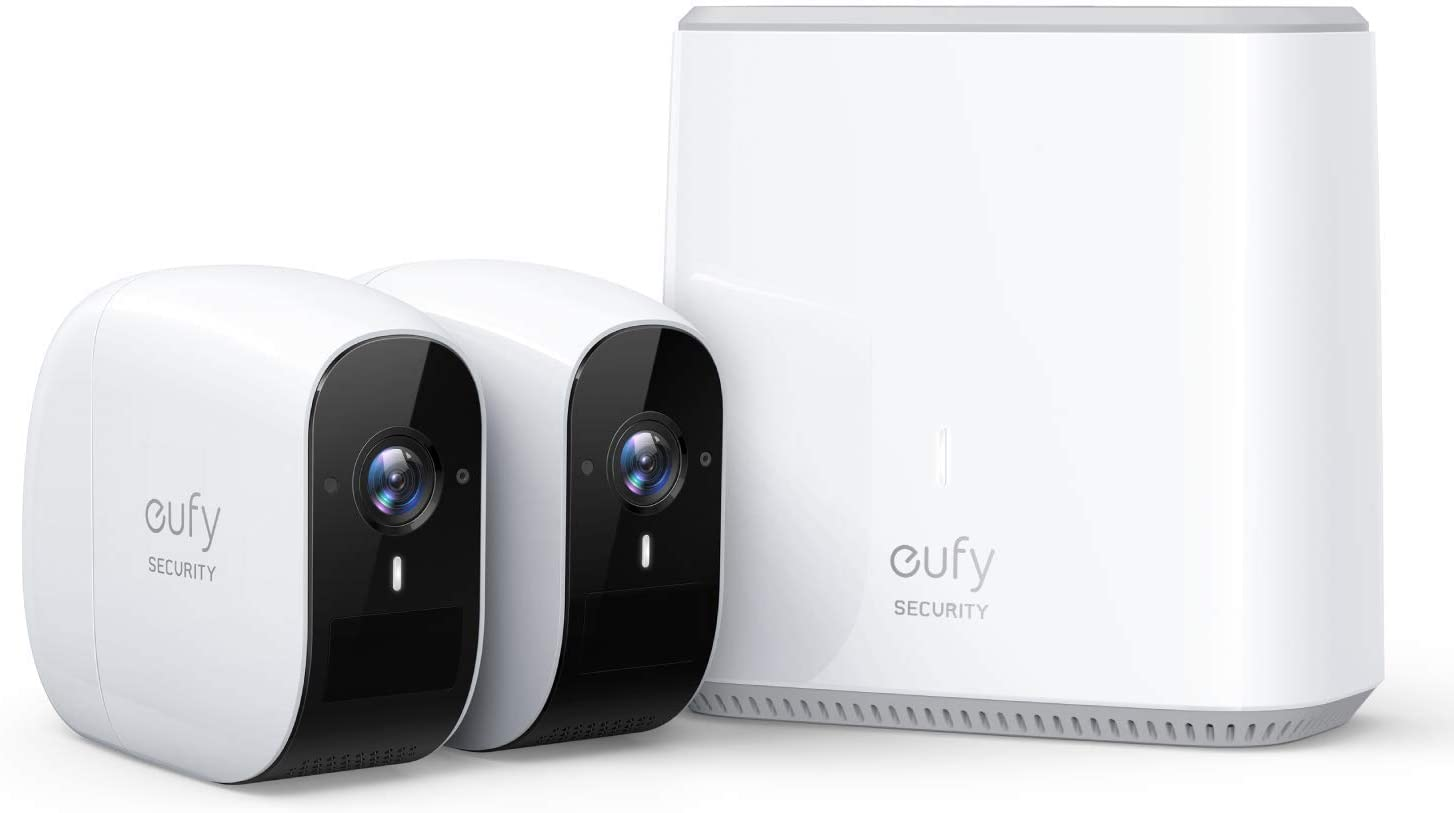 Wireless Home Security Camera System, eufy Security eufyCam E 365-Day Battery Life, 1080p HD, IP65 Weatherproof, Night Vision, Compatible with Amazon Alexa, 2-Cam Kit, No Monthly Fee (Renewed)