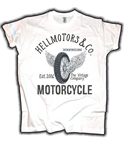 HELLMOTORS Biker Herren T-Shirt Wheel Weiss Oldschool Motorcycle