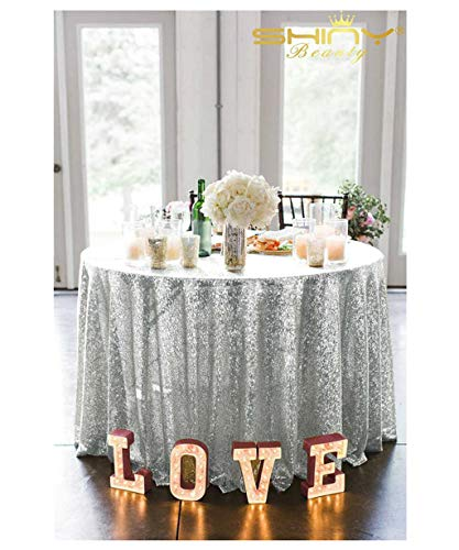 ShiDianYi Silver Sequin Tablecloth, Silver Wedding Tablecloth, Silver Glitter Tablecloth, Silver Sparkly Tablecloth (72in Round)
