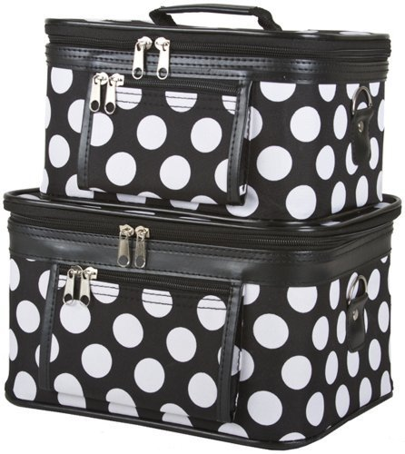 Dallas Luggage 2-Piece Polka Dots Cosmetic Train Case, Large Dots, Black and (Dots Train Case)