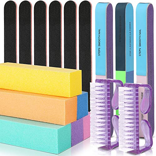 Nail Files Buffer, Teenitor Professional Gel Polish Remover Manicure Tools Kit with 6pcs Buffing Block, 6pcs Black Files and 7-sides Sky Dipping Powder Buffer 3pcs and 2pcs Brushes for Nails