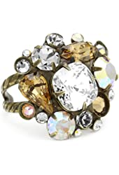 "Sorrelli ""Stardust"" Multi-Cut Clear and Light Gold Crystal Cluster Cocktail Adjustable Ring"