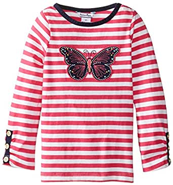 Hartstrings Little Girls' Cotton Long Sleeve Embroidered Tee, Pink, 2T