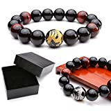 "Zysta 12mm Men's Natural Tiger Eye Agate Stone Bracelet W/14mm Silver, Gold, Dragon King Pattern Buddha Mala Prayer Beads 6.8"" + Gift Box"