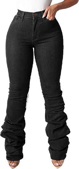 Qiangjinjiu 女性クラシックフィットプリーツデニムパンツウォッシュコットンハイウエストジーンズパンツ