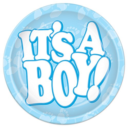 Beistle It's A Boy Plates, 7-Inch, Light Blue/White