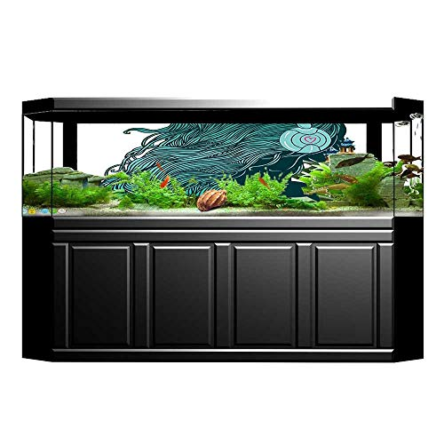 UHOO2018 Background Fish Tank Decorations Collection DJ Girl Profile with Long Hair in Headphones Nightclub Silhouettes Party Pictur PVC Paper Cling Decals Sticker -