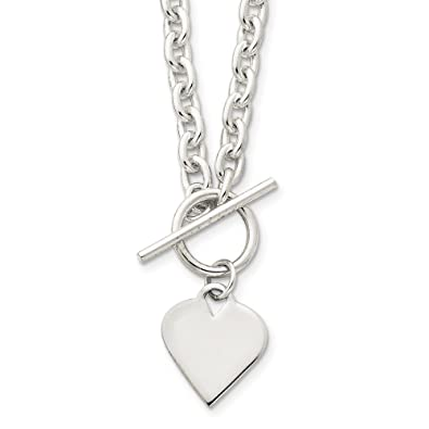 796c8ca14 Image Unavailable. Image not available for. Color: Mia Diamonds 925  Sterling Silver Solid Engraveable Heart Toggle Necklace ...