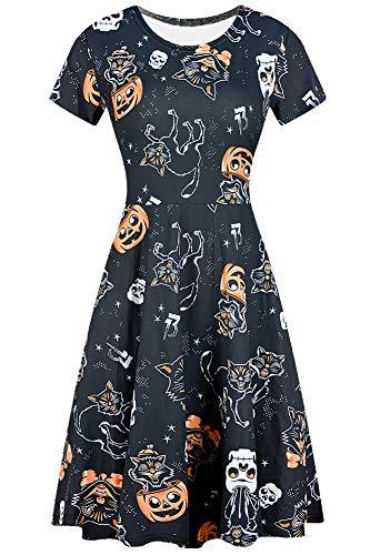 Halloween Women Pumpkin A-Line Skull Swing Party Short Sleeve Tunic Dress Black Cats S]()